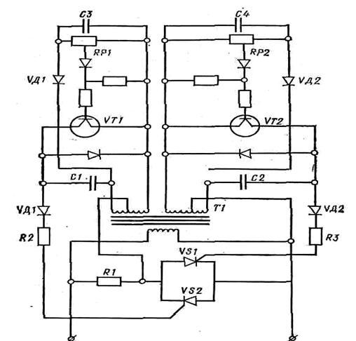 Рис. 3. Електрична схема пристрою стабілізації напруги.